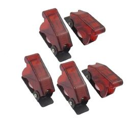 5 Pcs 12mm Mount Dia. Red Safety Flip Cover for Toggle Switc