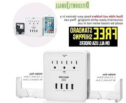 Bestten Multi Outlet Wall Mount Adapter Surge Protector with