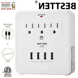 BESTTEN Multiple Outlet Wall Plug, Wall Tap Adapter Surge Pr