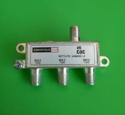 3-Way Cable TV Antenna Splitter 5-1000 MHz