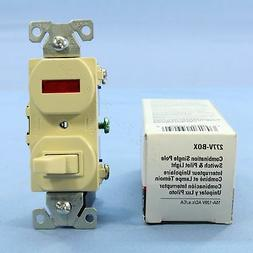 New Cooper Electric Ivory Pilot Light Toggle Switch Single P