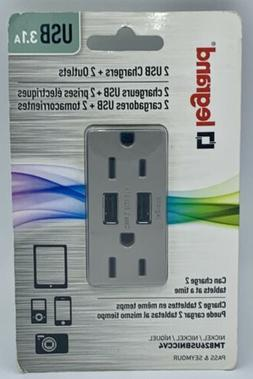 NEW Legrand Pass & Seymour Dual 3.1A USB Charger Outlets Nic