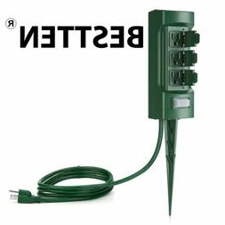 BESTTEN Newly Launched 3-Outlet Weatherpfoof Outdoor Yard Po