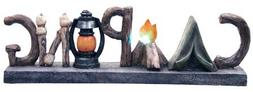 Night Light Decorative Camping Messenger Table Shelf Sign Wo