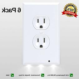 LED Night Light Wall Outlet Duplex Cover 6 Pack Hallway Ligh