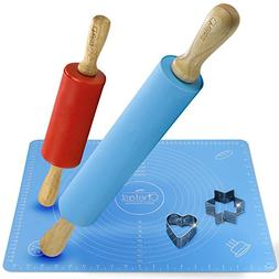 Chefast Non-Stick Rolling Pin and Pastry Mat Set: Combo Kit