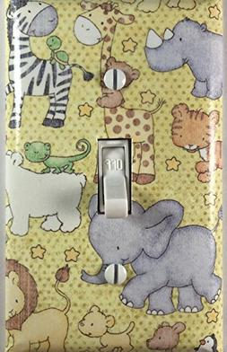 Baby Nursery Safari Animals Decorative Light Switch Cover Wa