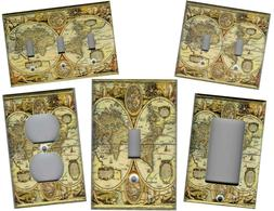 OLD WORLD MAP HOME WALL DECOR LIGHT SWITCH PLATES AND OUTLET