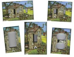 OUTHOUSE WITH RACCOON BATH HOME WALL DECOR LIGHT SWITCH PLAT