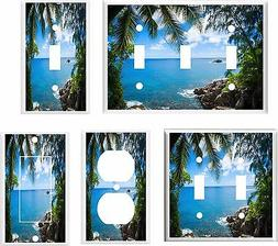 PALM TREE PARADISE TROPICAL BEACH LIGHT SWITCH COVER PLATE