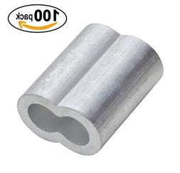 PES 100 Packs Cable Crimps Wire Ferrules Rope 1/8 Stainless