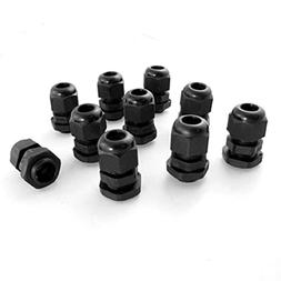 10 Pcs PG9 Black Plastic Waterproof Cable Connectors