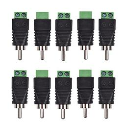 Bluecell 10pcs Phono RCA Male Plug to AV Screw Terminal Plug
