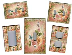 PINK AND PEACH ROSES SHABBY CHIC HOME DECOR LIGHT SWITCH PLA