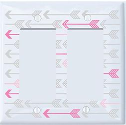 Pink, and Grey Arrow Print Pattern Light Switch Plate and Ou