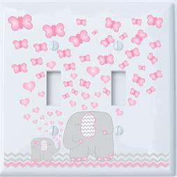 Pink Elephant Double Toggle Light Switch Plate Covers / Elep