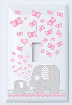 Pink Elephant Light Switch Plate Covers/Single Toggle/Elepha