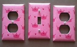 PINK LIGHT SWITCH COVER PLATES PRINCESS CROWN NURSERY GIRLS