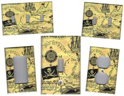 PIRATE TREASURE MAP HOME WALL DECOR LIGHT SWITCH PLATES AND