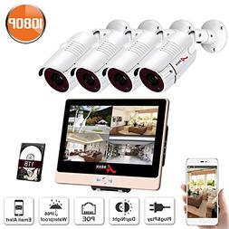 ANRAN 8Channel PoE Home Security Camera System 1080P with 1T