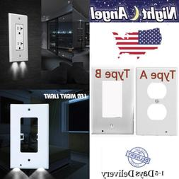Power Wall Outlet Cover Plate 2 LED Night Light Hallway Bath