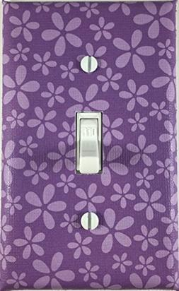 Purple Flowers Design Decorative Single Toggle Light Switch