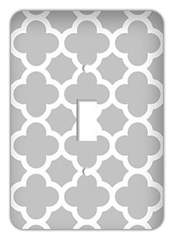 Quatrefoil Trendy Printed Single Switchplate Cover, Gray