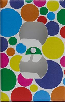 Rainbow Polka Dot Outlet Switch Plate Cover in Pink, Purple,