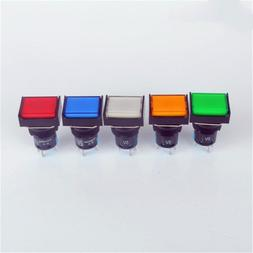 Rectangle Push Button Switch LED Light Momentary Latching 16