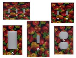 RED APPLES KITCHEN HOME WALL DECOR LIGHT SWITCH PLATES AND O