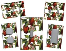 RED APPLES WITH APPLE BLOSSOMS KITCHEN HOME DECOR LIGHT SWIT
