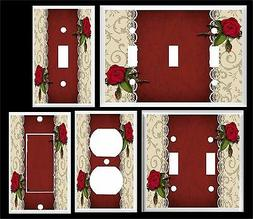 RED ROSES AND LACE LIGHT SWITCH COVER PLATE   HOME DECOR U P