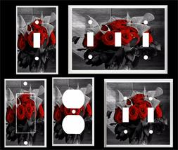 RED ROSES IN VASE BLACK AND WHITE IMAGE LIGHT SWITCH COVER P