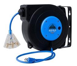 CopperPeak 50 ft Retractable Extension Cord Reel - Ceiling o