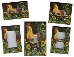 ROOSTER WITH SUNFLOWERS KITCHEN HOME WALL DECOR LIGHT SWITCH