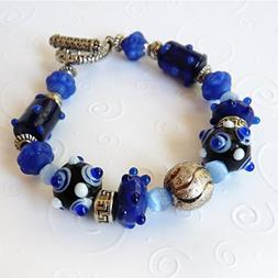 Royal Blue Lamp Worked Beads & Mixed Metals Pandora Style, H