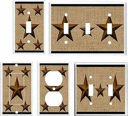 RUSTIC BARN STAR BROWN LIGHT SWITCH COVER PLATE # K 25 U PIC