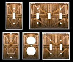 RUSTIC COUNTRY BARN DOORS LIGHT SWITCH COVER PLATE