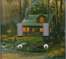 RUSTIC LOG CABIN IN THE WOODS HOME WALL DECOR LIGHT SWITCH P