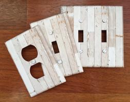Rustic white wood light switch plate cover faux wood planks