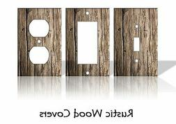 Rustic Wood Pattern Light Switch Covers Home Decor Outlet -
