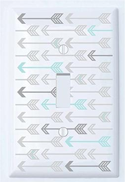 Seafoam Green and Grey Arrow Print Pattern Single Toggle Lig