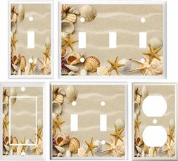 SEASHELLS STARFISH BEACH LIGHT SWITCH PLATE COVER OR OUTLET