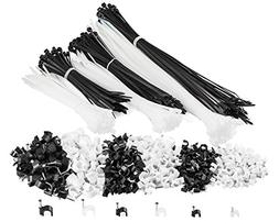 Maximm Cable Ties & Cable Clips w/Steel Nail in Black and Wh