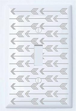 Single Toggle Grey Arrow Print Light Switch Plate Covers/Gre