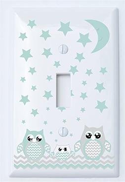 Single Toggle Grey and Seafoam Green Owl Light Switch Plate