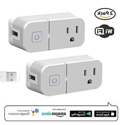 Smart Plug Compatible with Alexa,ALLICAVER 2 Pack Wifi Smart