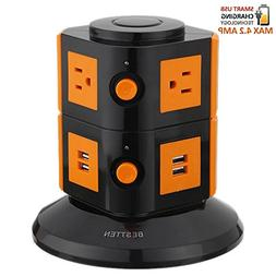 Bestten Smart Power Strip Tower - 4-Port USB Charger - 6-Out