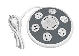 5 Multi Outlet Power Strip Surge Protector with 2 Quick USB