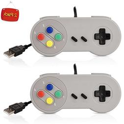 2 Pack SNES PC USB Controller,Supper Classic USB PC Remote S